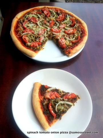 Spinach, Tomato and Onion Pizza