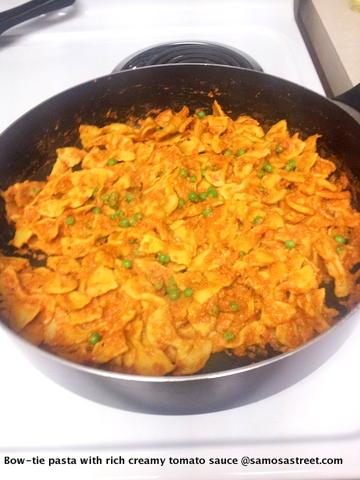 Bow-tie pasta with rich creamy tomato sauce.